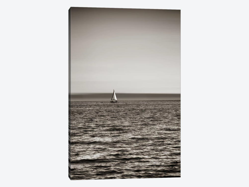 Lone Sailboat Near Seattle, Washington by Savanah Plank 1-piece Art Print