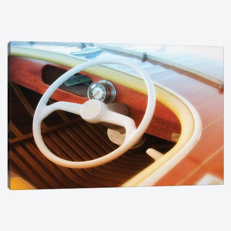Vintage Speed Boat 3-Piece Canvas #SVN58} by Savanah Plank Canvas Art Print