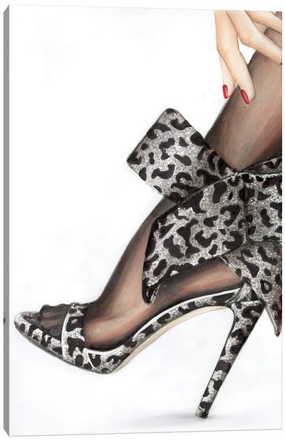 Leopard Bow Canvas Art Print