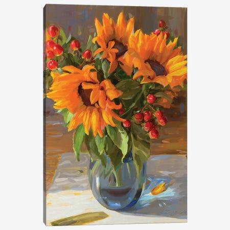 Golden Sunflowers Canvas Print #SVZ11} by Svetlana Zyuzina Canvas Art Print