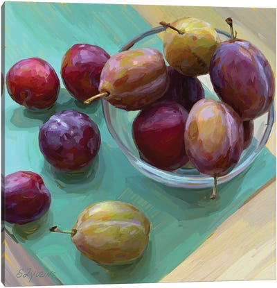 Plums In A Bowl Canvas Art Print