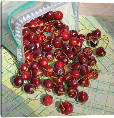 Freshly Picked  Up Cherries Canvas Art Print