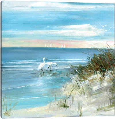 Shore Fishing Canvas Art Print