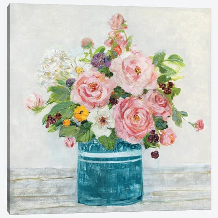 Cottage Garden I Canvas Print #SWA133} by Sally Swatland Canvas Print