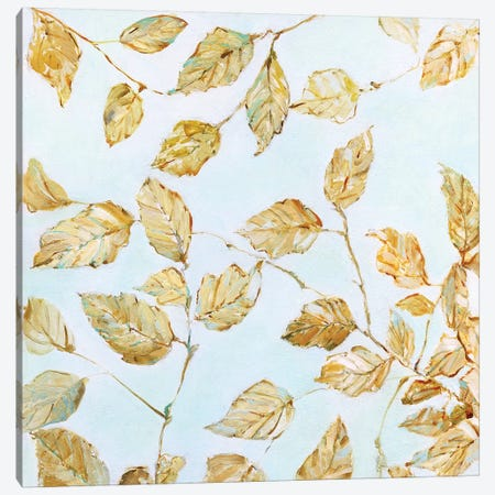 Dancing Birch Leaves Canvas Print #SWA135} by Sally Swatland Canvas Artwork