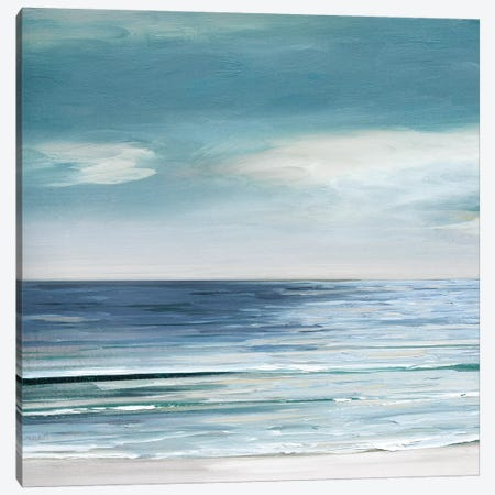 Blue Silver Shore I Canvas Print #SWA158} by Sally Swatland Art Print