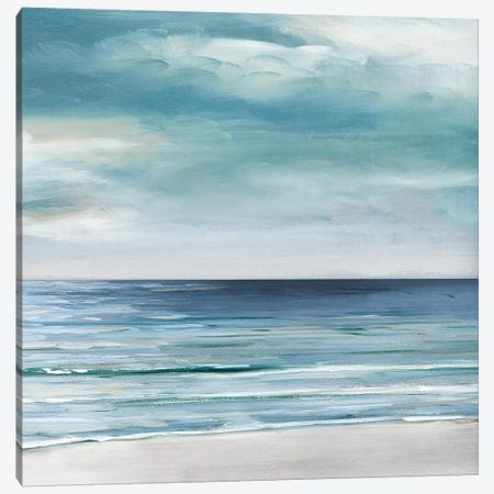 Blue Silver Shore II Canvas Print #SWA159} by Sally Swatland Art Print