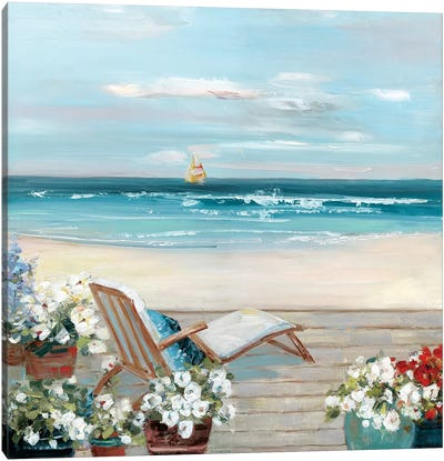 Beach House View Canvas Art Print
