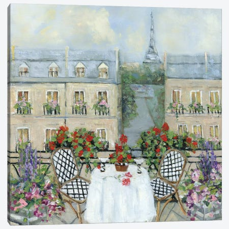Paris Veranda Canvas Print #SWA172} by Sally Swatland Canvas Print