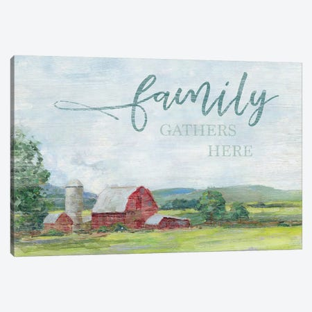 Family Gathers Here Canvas Print #SWA213} by Sally Swatland Canvas Wall Art