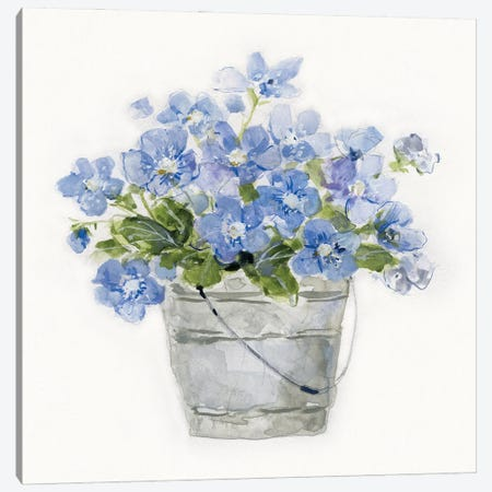 Blue Belles I Canvas Print #SWA238} by Sally Swatland Canvas Artwork