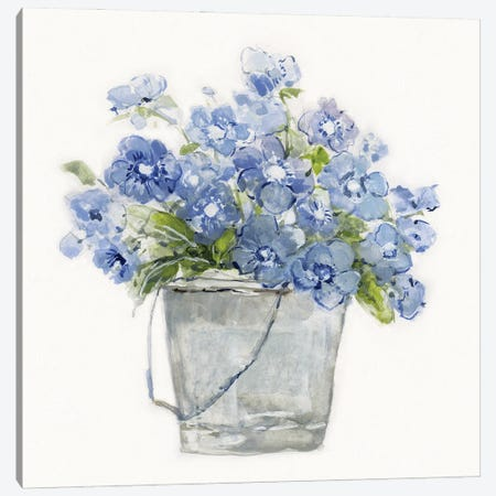 Blue Belles II Canvas Print #SWA239} by Sally Swatland Canvas Art