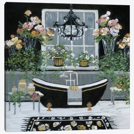 Femme Noir Bath I Canvas Print #SWA23} by Sally Swatland Canvas Artwork