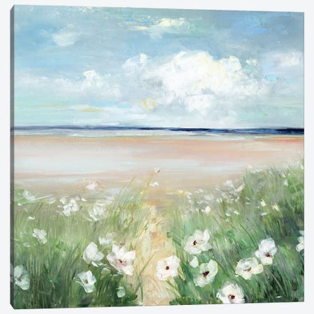 Ocean Wildflowers Canvas Print #SWA251} by Sally Swatland Canvas Art