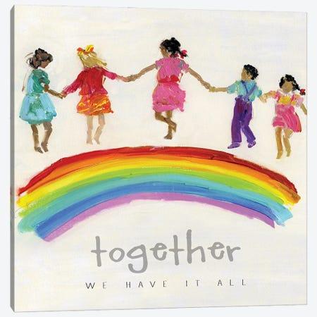 Rainbow Kids Together Canvas Print #SWA263} by Sally Swatland Canvas Art Print