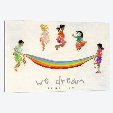 Rainbow Kids We Dream Canvas Print #SWA264} by Sally Swatland Canvas Wall Art