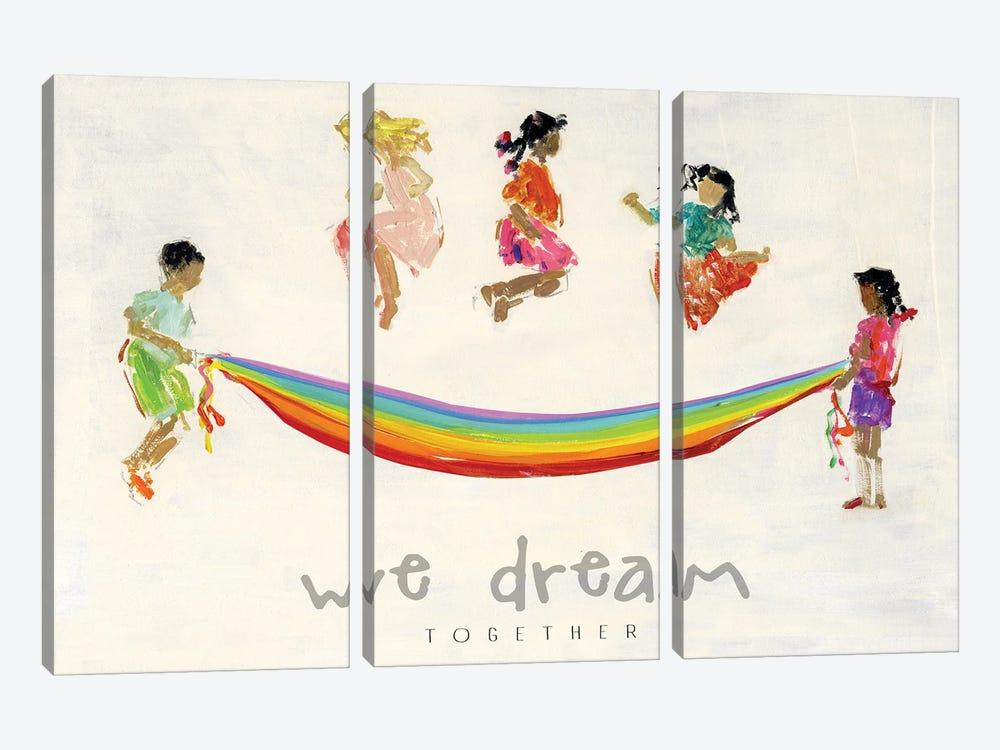 Rainbow Kids We Dream by Sally Swatland 3-piece Canvas Wall Art
