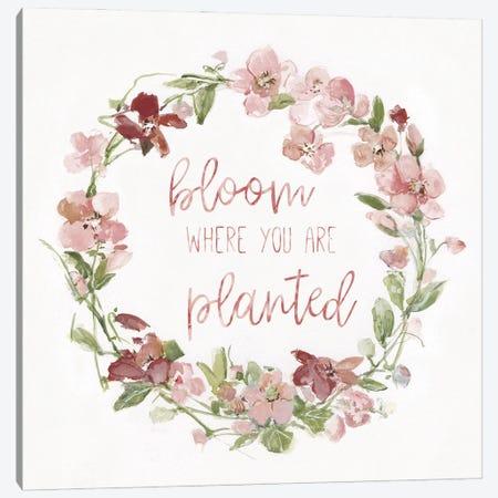 Blush Springtime Wreath I Canvas Print #SWA271} by Sally Swatland Canvas Artwork
