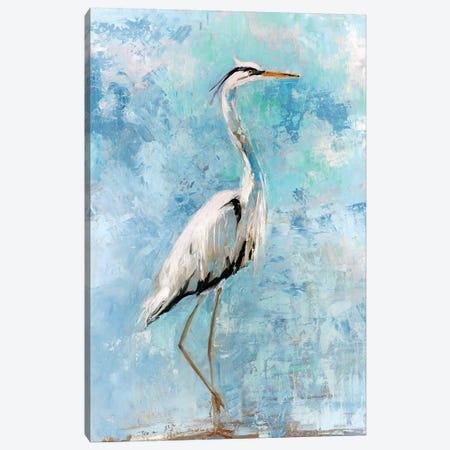 Hazy Morning Heron I Canvas Print #SWA53} by Sally Swatland Art Print