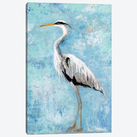 Hazy Morning Heron II Canvas Print #SWA54} by Sally Swatland Canvas Wall Art