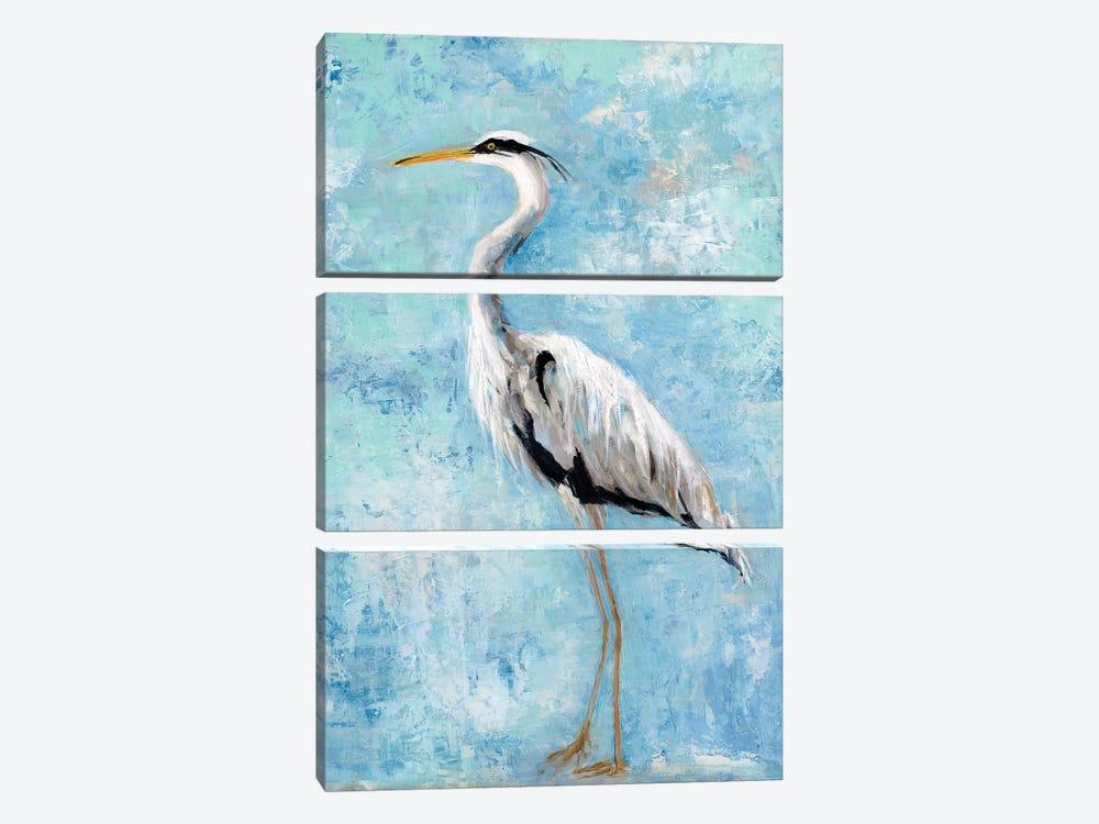 Hazy Morning Heron II by Sally Swatland 3-piece Canvas Wall Art