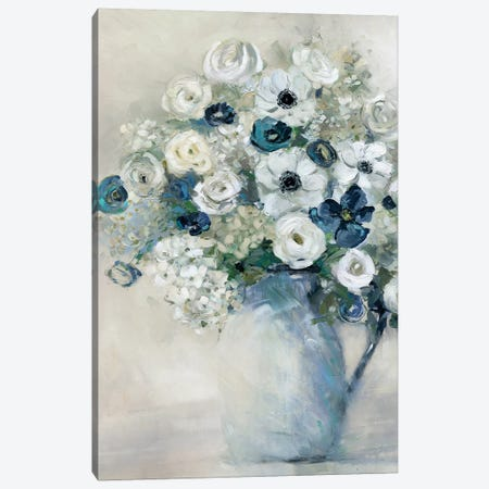 Anemone And Blue Canvas Print #SWA60} by Sally Swatland Canvas Art