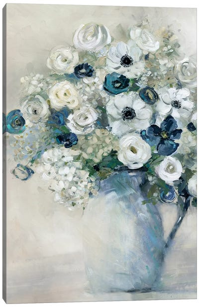 Anemone And Blue Canvas Art Print