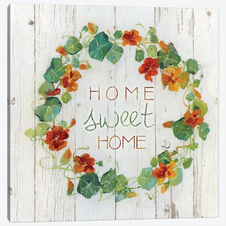 Nasturtium Wreath Canvas Print #SWA63} by Sally Swatland Canvas Art