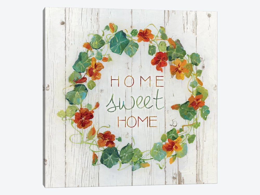 Nasturtium Wreath by Sally Swatland 1-piece Canvas Art