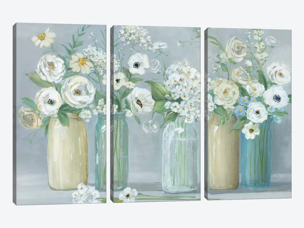 Blooming Meadow Beauties by Sally Swatland 3-piece Canvas Wall Art