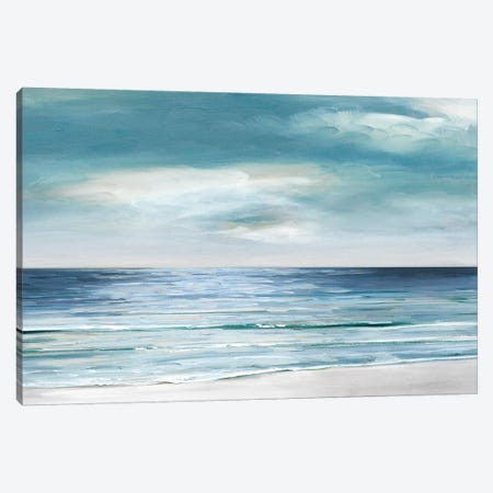 Blue Silver Shore Canvas Print #SWA68} by Sally Swatland Canvas Wall Art