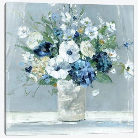 Be Happy Blue Canvas Print #SWA90} by Sally Swatland Art Print