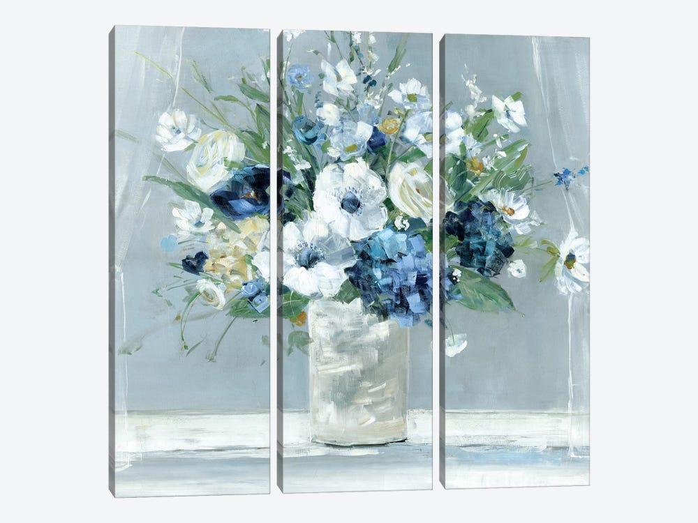 Be Happy Blue by Sally Swatland 3-piece Canvas Wall Art