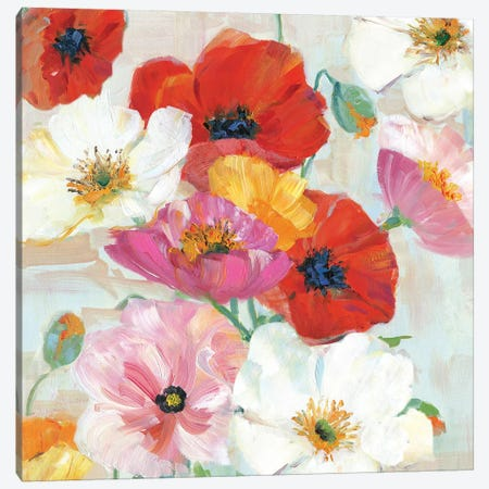 Confetti Flowers I Canvas Print #SWA94} by Sally Swatland Canvas Artwork
