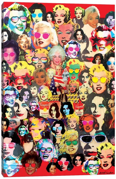 The Many Faces Of Marilyn And Liz Canvas Art Print