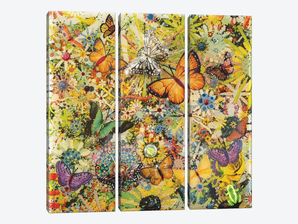 Butterfly Garden by Robert Swedroe 3-piece Canvas Wall Art