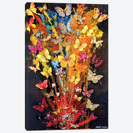 Butterflies In Bloom Canvas Print #SWD251} by Robert Swedroe Canvas Artwork
