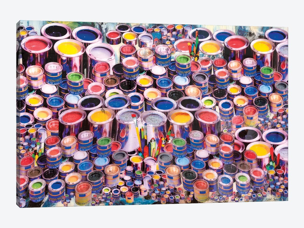 Paint Can Ensemble by Robert Swedroe 1-piece Canvas Wall Art