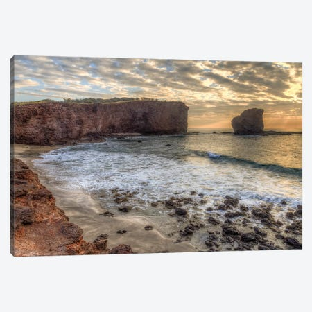 View from beach at Manele Bay of Puu Pehe at sunrise, South Shore of Lanai Island, Hawaii Canvas Print #SWE100} by Stuart Westmorland Canvas Print