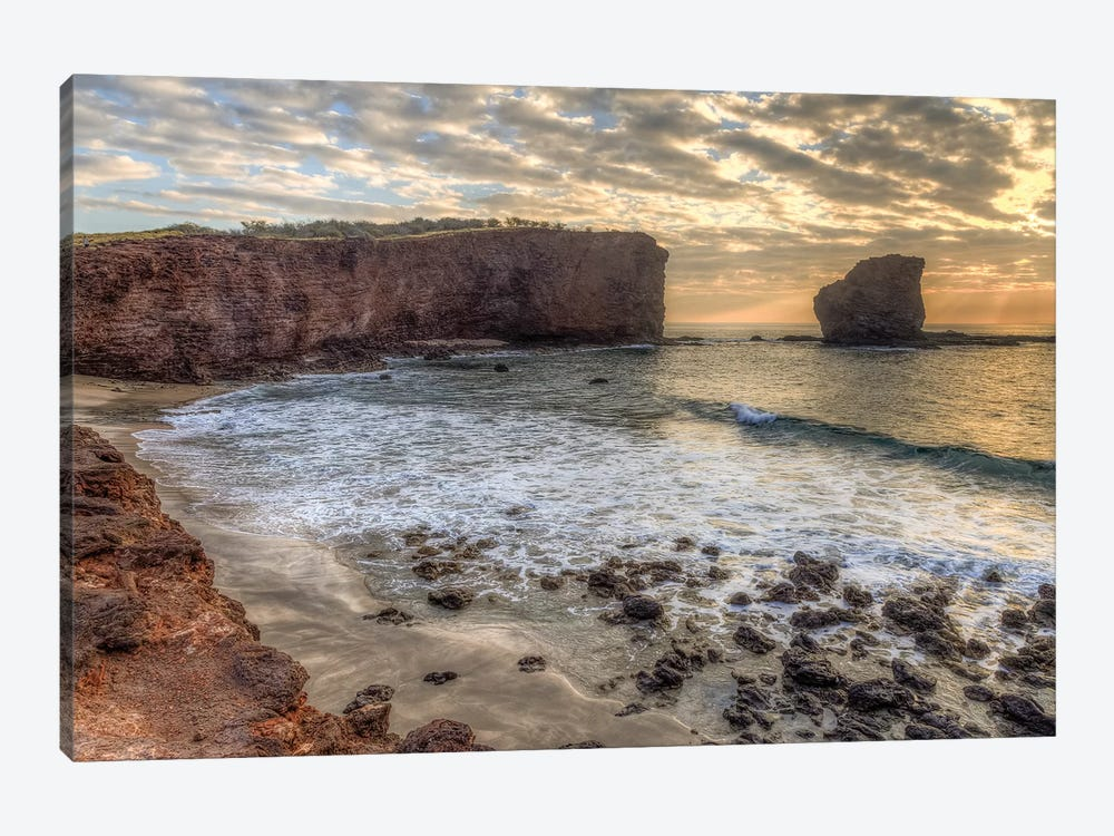 View from beach at Manele Bay of Puu Pehe at sunrise, South Shore of Lanai Island, Hawaii by Stuart Westmorland 1-piece Canvas Art