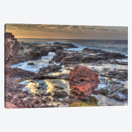 View from beach at Manele Bay of Puu Pehe at sunrise, South Shore of Lanai Island, Hawaii Canvas Print #SWE101} by Stuart Westmorland Canvas Art Print