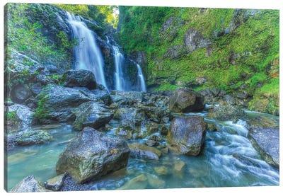 Waikani Falls, Hana Highway near Hana, East Maui, Hawaii, USA Canvas Art Print