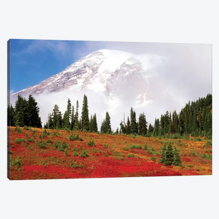 Fog-Covered Mount Rainier With An Autumn Landscape In The Foreground, Mount Rainier National Park, Washington, USA Canvas Print #SWE10} by Stuart Westmorland Canvas Art Print
