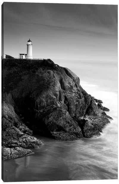 North Head Lighthouse In B&W, North Head, Cape Disappointment State Park, Washington, USA Canvas Art Print