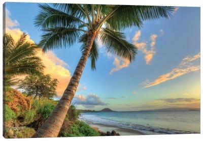Sunset at beach, Wailea, Maui, Hawaii, USA Canvas Art Print