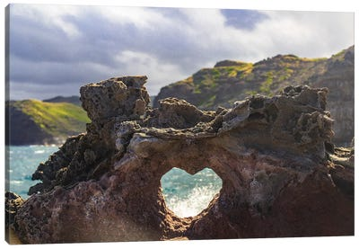 Heart-shaped opening near Nakalele Blowhole, northern tip of Maui, Hawaii Canvas Art Print