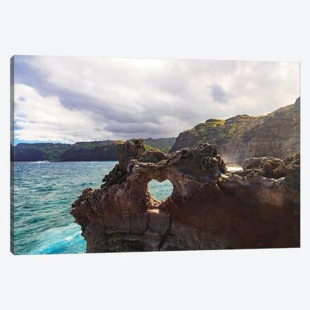 Heart-shaped opening near Nakalele Blowhole, northern tip of Maui, Hawaii Canvas Print #SWE48} by Stuart Westmorland Canvas Artwork