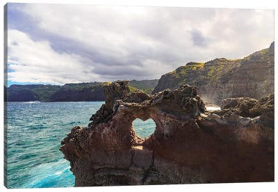 Heart-shaped opening near Nakalele Blowhole, northern tip of Maui, Hawaii Canvas Art Print