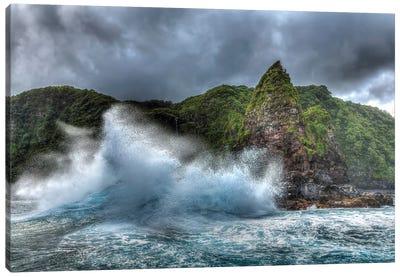 Jurassic Rock, Rugged Coastline of North East Shoreline of Maui, Hawaii Canvas Art Print
