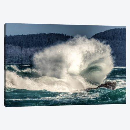 Spring Storm, breaking waves, Cape Kiwanda State Park, Oregon Coast, USA, Late Spring Canvas Print #SWE74} by Stuart Westmorland Canvas Artwork